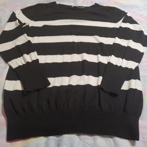 Faded Glory Black With White Stripes Sweater